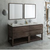 Formosa 72'' Floor Standing Double Sink Modern Bathroom Vanity Set w/ Open Bottom & Mirrors, Base Cabinet: 72'' W x 20-3/8'' D x 34-7/8'' H, 4 Drawers