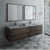 Formosa 72'' Wall Hung Double Sink Modern Bathroom Vanity Set w/ Mirrors, Base Cabinet: 72'' W x 20-3/8'' D x 20-5/16'' H, 4 Drawers
