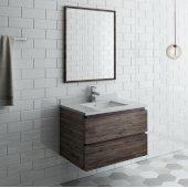 Formosa 30'' Wall Hung Modern Bathroom Vanity Set w/ Mirror, Base Cabinet: 30'' W x 20-3/8'' D x 20-5/16'' H