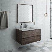 Formosa 36'' Wall Hung Modern Bathroom Vanity Set w/ Mirror, Base Cabinet: 36'' W x 20-3/8'' D x 20-5/16'' H