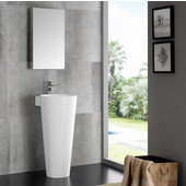 Messina 16'' White Pedestal Sink w Medicine Cabinet - Modern Bathroom Vanity, Dimensions of Vanity: 15-3/4'' W x 19-7/8'' D x 33-3/8'' H