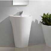 Parma 24'' White Pedestal Sink with Medicine Cabinet - Modern Bathroom Vanity, Dimensions of Vanity: 24'' W x 20'' D x 33-3/8'' H