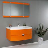 Energia 36'' Orange Modern Wall Mounted Bathroom Vanity with Three Panel Folding Mirror, Dimensions of Vanity: 36'' W x 20-3/8'' D x 18'' H