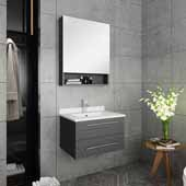 Lucera 24'' Gray Wall Hung Undermount Sink Modern Bathroom Vanity Set w/ Medicine Cabinet, Vanity: 24''W x 20-2/5''D x 15-4/5''H, Medicine Cabinet: 24''W x 31-1/2''H x 6''D