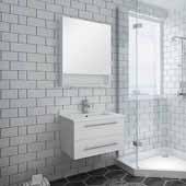 Lucera 24'' White Wall Hung Undermount Sink Modern Bathroom Vanity Set w/ Medicine Cabinet, Vanity: 24''W x 20-2/5''D x 15-4/5''H, Medicine Cabinet: 24''W x 31-1/2''H x 6''D