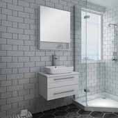 Lucera 24'' White Wall Hung Vessel Sink Modern Bathroom Vanity Set w/ Medicine Cabinet, Vanity: 24''W x 20-2/5''D x 20-4/5''H, Medicine Cabinet: 24''W x 31-1/2''H x 6''D
