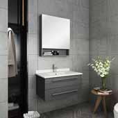 Lucera 30'' Gray Wall Hung Undermount Sink Modern Bathroom Vanity Set w/ Medicine Cabinet, Vanity: 30''W x 20-2/5''D x 15-4/5''H, Medicine Cabinet: 24''W x 31-1/2''H x 6''D