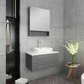 Lucera 30'' Gray Wall Hung Vessel Sink Modern Bathroom Vanity Set w/ Medicine Cabinet, Vanity: 30''W x 20-2/5''D x 20-4/5''H, Medicine Cabinet: 24''W x 31-1/2''H x 6''D