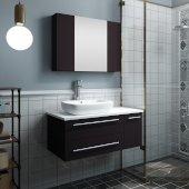 Lucera 36'' Espresso Wall Hung Vessel Sink Modern Bathroom Vanity Set w/ Medicine Cabinet - Left Version, Vanity: 36''W x 20-2/5''D x 20-4/5''H, Medicine Cabinet: 31-1/2''W x 23-3/5''H x 6''D