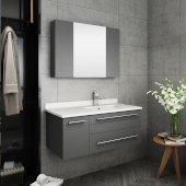Lucera 36'' Gray Wall Hung Undermount Sink Modern Bathroom Vanity Set w/ Medicine Cabinet - Right Version, Vanity: 36''W x 20-2/5''D x 15-4/5''H, Medicine Cabinet: 31-1/2''W x 23-3/5''H x 6''D