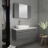 Lucera 36'' Gray Wall Hung Vessel Sink Modern Bathroom Vanity Set w/ Medicine Cabinet - Left Version, Vanity: 36''W x 20-2/5''D x 20-4/5''H, Medicine Cabinet: 31-1/2''W x 23-3/5''H x 6''D
