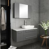 Lucera 36'' Gray Wall Hung Vessel Sink Modern Bathroom Vanity Set w/ Medicine Cabinet - Right Version, Vanity: 36''W x 20-2/5''D x 20-4/5''H, Medicine Cabinet: 31-1/2''W x 23-3/5''H x 6''D