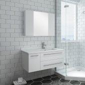 Lucera 36'' White Wall Hung Undermount Sink Modern Bathroom Vanity Set w/ Medicine Cabinet - Right Version, Vanity: 36''W x 20-2/5''D x 15-4/5''H, Medicine Cabinet: 31-1/2''W x 23-3/5''H x 6''D