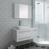 Lucera 36'' White Wall Hung Vessel Sink Modern Bathroom Vanity Set w/ Medicine Cabinet - Left Version, Vanity: 36''W x 20-2/5''D x 20-4/5''H, Medicine Cabinet: 31-1/2''W x 23-3/5''H x 6''D