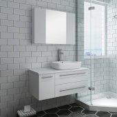 Lucera 36'' White Wall Hung Vessel Sink Modern Bathroom Vanity Set w/ Medicine Cabinet - Right Version, Vanity: 36''W x 20-2/5''D x 20-4/5''H, Medicine Cabinet: 31-1/2''W x 23-3/5''H x 6''D
