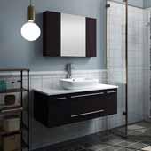 Lucera 42'' Espresso Wall Hung Vessel Sink Modern Bathroom Vanity Set w/ Medicine Cabinet, Vanity: 42''W x 20-2/5''D x 20-4/5''H, Medicine Cabinet: 31-1/2''W x 23-3/5''H x 6''D