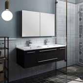 Lucera 48'' Espresso Wall Hung Double Undermount Sink Modern Bathroom Vanity Set w/ Medicine Cabinet, Vanity: 48''W x 20-2/5''D x 15-4/5''H, Medicine Cabinet: 39-1/2''W x 26''H x 5''D