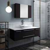 Lucera 48'' Espresso Wall Hung Vessel Sink Modern Bathroom Vanity Set w/ Medicine Cabinet, Vanity: 48''W x 20-2/5''D x 20-4/5''H, Medicine Cabinet: 31-1/2''W x 23-3/5''H x 6''D