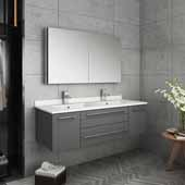 Lucera 48'' Gray Wall Hung Double Undermount Sink Modern Bathroom Vanity Set w/ Medicine Cabinet, Vanity: 48''W x 20-2/5''D x 15-4/5''H, Medicine Cabinet: 39-1/2''W x 26''H x 5''D