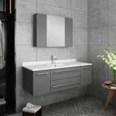 Lucera 48'' Gray Wall Hung Undermount Sink Modern Bathroom Vanity Set w/ Medicine Cabinet, Vanity: 48''W x 20-2/5''D x 15-4/5''H, Medicine Cabinet: 31-1/2''W x 23-3/5''H x 6''D