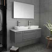 Lucera 48'' Gray Wall Hung Double Vessel Sink Modern Bathroom Vanity Set w/ Medicine Cabinet, Vanity: 48''W x 20-2/5''D x 20-4/5''H, Medicine Cabinet: 39-1/2''W x 26''H x 5''D