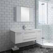 Lucera 48'' White Wall Hung Undermount Sink Modern Bathroom Vanity Set w/ Medicine Cabinet, Vanity: 48''W x 20-2/5''D x 15-4/5''H, Medicine Cabinet: 31-1/2''W x 23-3/5''H x 6''D