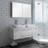 Lucera 48'' White Wall Hung Double Vessel Sink Modern Bathroom Vanity Set w/ Medicine Cabinet, Vanity: 48''W x 20-2/5''D x 20-4/5''H, Medicine Cabinet: 39-1/2''W x 26''H x 5''D