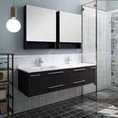 Lucera 60'' Espresso Wall Hung Double Undermount Sink Modern Bathroom Vanity Set w/ Medicine Cabinets, Vanity: 60''W x 20-2/5''D x 15-4/5''H, Medicine Cabinet: 24''W x 31-1/2''H x 6''D