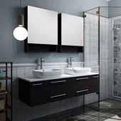 Lucera 60'' Espresso Wall Hung Double Vessel Sink Modern Bathroom Vanity Set w/ Medicine Cabinets, Vanity: 60''W x 20-2/5''D x 20-4/5''H, Medicine Cabinet: 24''W x 31-1/2''H x 6''D