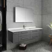 Lucera 60'' Gray Wall Hung Single Undermount Sink Modern Bathroom Vanity Set w/ Medicine Cabinet, Vanity: 60''W x 20-2/5''D x 15-4/5''H, Medicine Cabinet: 39-1/2''W x 26''H x 5''D