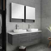 Lucera 60'' Gray Wall Hung Double Vessel Sink Modern Bathroom Vanity Set w/ Medicine Cabinets, Vanity: 60''W x 20-2/5''D x 20-4/5''H, Medicine Cabinet: 24''W x 31-1/2''H x 6''D