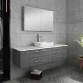 Lucera 60'' Gray Wall Hung Single Vessel Sink Modern Bathroom Vanity Set w/ Medicine Cabinet, Vanity: 60''W x 20-2/5''D x 20-4/5''H, Medicine Cabinet: 39-1/2''W x 26''H x 5''D