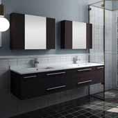 Lucera 72'' Espresso Wall Hung Double Undermount Sink Modern Bathroom Vanity Set w/ Medicine Cabinets, Vanity: 72''W x 20-2/5''D x 15-4/5''H, Medicine Cabinet: 31-1/2''W x 23-3/5''H x 6''D