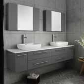 Lucera 72'' Gray Wall Hung Double Vessel Sink Modern Bathroom Vanity Set w/ Medicine Cabinets, Vanity: 72''W x 20-2/5''D x 20-4/5''H, Medicine Cabinet: 31-1/2''W x 23-3/5''H x 6''D