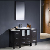 Torino 48'' Espresso Modern Bathroom Vanity with 2 Side Cabinets and Integrated Sink, Dimensions of Vanity: 48'' W x 18-1/8'' D x 33-3/4'' H