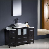Torino 48'' Espresso Modern Bathroom Vanity with 2 Side Cabinets and Vessel Sink, Dimensions of Vanity: 48'' W x 18-1/8'' D x 35-5/8'' H