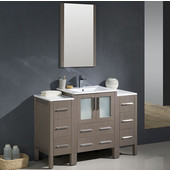 Torino 48'' Gray Oak Modern Bathroom Vanity with 2 Side Cabinets and Integrated Sink, Dimensions of Vanity: 48'' W x 18-1/8'' D x 33-3/4'' H