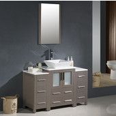 Torino 48'' Gray Oak Modern Bathroom Vanity with 2 Side Cabinets and Vessel Sink, Dimensions of Vanity: 48'' W x 18-1/8'' D x 35-5/8'' H