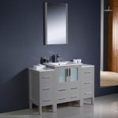 Torino 48'' Gray Modern Bathroom Vanity Set with Mirror and Faucet, 2 Side Cabinets & Integrated Sink, 48'' W x 18-1/8'' D x 33-3/4'' H