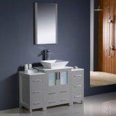 Torino 48'' Gray Modern Bathroom Vanity Set with Mirror and Faucet, 2 Side Cabinets & Vessel Sink, 48'' W x 18-1/8'' D x 35-5/8'' H