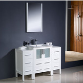 Torino 48'' White Modern Bathroom Vanity with 2 Side Cabinets and Integrated Sink, Dimensions of Vanity: 48'' W x 18-1/8'' D x 33-3/4'' H