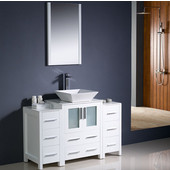 Torino 48'' White Modern Bathroom Vanity with 2 Side Cabinets and Vessel Sink, Dimensions of Vanity: 48'' W x 18-1/8'' D x 35-5/8'' H