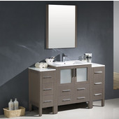 Torino 54'' Gray Oak Modern Bathroom Vanity with 2 Side Cabinets and Integrated Sink, Dimensions of Vanity: 54'' W x 18-1/8'' D x 33-3/4'' H