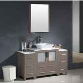 Torino 54'' Gray Oak Modern Bathroom Vanity with 2 Side Cabinets and Vessel Sink, Dimensions of Vanity: 54'' W x 18-1/8'' D x 35-5/8'' H
