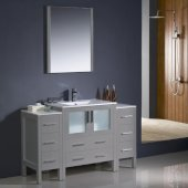 Torino 54'' Gray Modern Bathroom Vanity Set with Mirror and Faucet, 2 Side Cabinets & Integrated Sink, 54'' W x 18-1/8'' D x 33-3/4'' H