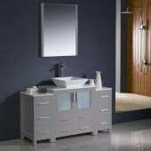 Torino 54'' Gray Modern Bathroom Vanity Set with Mirror and Faucet, 2 Side Cabinets & Vessel Sink, 54'' W x 18-1/8'' D x 35-5/8'' H