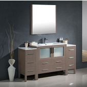 Torino 60'' Gray Oak Modern Bathroom Vanity with 2 Side Cabinets and Integrated Sink, Dimensions of Vanity: 59-3/4'' W x 18-1/8'' D x 33-3/4'' H
