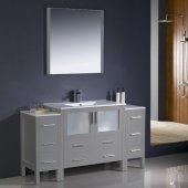 Torino 60'' Gray Modern Bathroom Vanity Set with Mirror and Faucet, 2 Side Cabinets & Integrated Sink, 59-3/4'' W x 18-1/8'' D x 33-3/4'' H