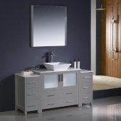 Torino 60'' Gray Modern Bathroom Vanity Set with Mirror and Faucet, 2 Side Cabinets & Vessel Sink, 59-3/4'' W x 18-1/8'' D x 35-5/8'' H