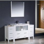 Torino 60'' White Modern Bathroom Vanity with 2 Side Cabinets and Integrated Sink, Dimensions of Vanity: 59-3/4'' W x 18-1/8'' D x 33-3/4'' H